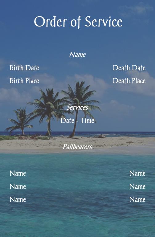 beach funeral program template inside right