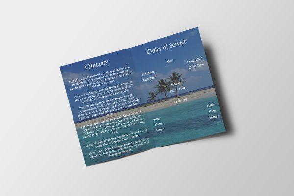 beach funeral program template inside view