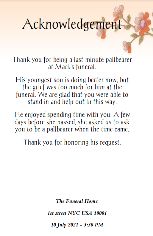 classic floral funeral program template back cover