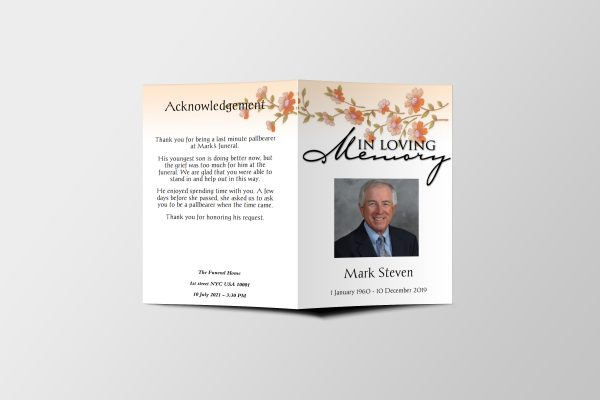 classic floral funeral program template covers