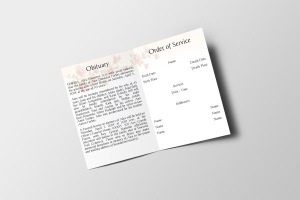 classic floral funeral program template inside