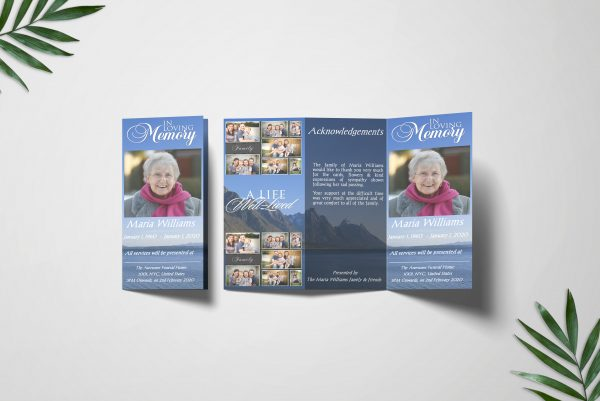 Blue Ocean Trifold Funeral Program Template Covers