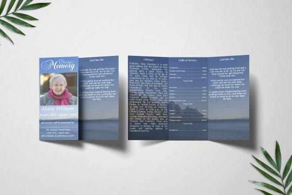 Blue Ocean Trifold Funeral Program Template inside