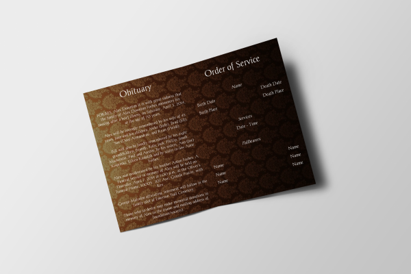 Ancient funeral program template inside panel