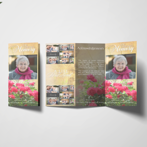 Floral Tri fold Funeral Program Template