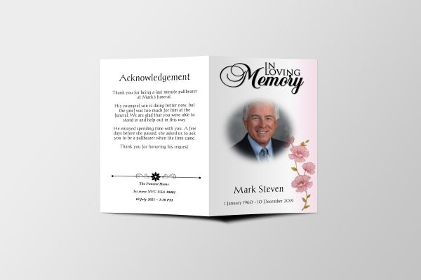 Less Color Funeral Program Template Covers