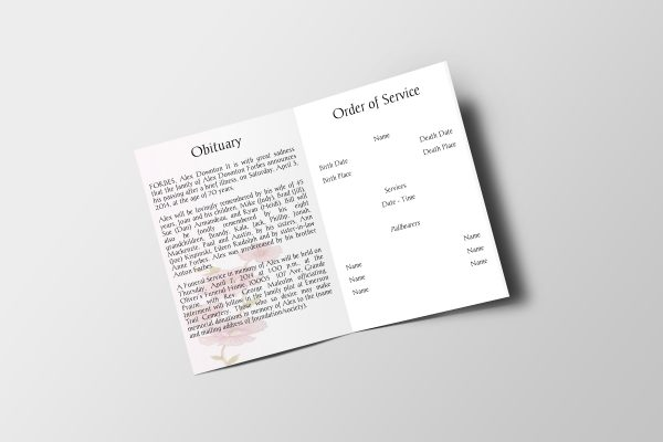 Less Color Funeral Program Template Inside Panel