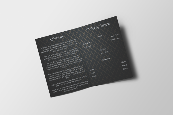 elegant funeral program template inside panel