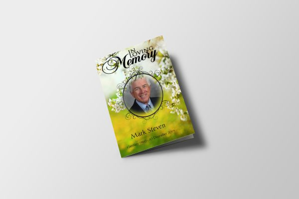 Lily Funeral Program Template Cover