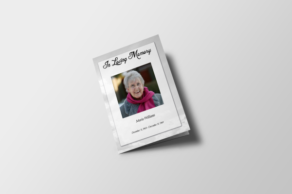 Less Color Clouds Tabloid Funeral Program Template