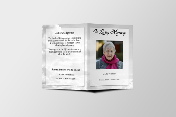 Less Color Clouds Tabloid Funeral Program Template Cover