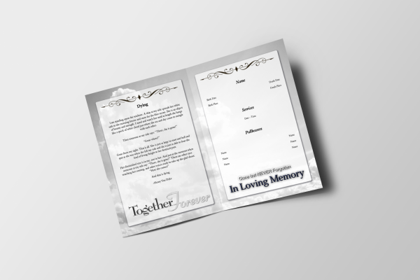 Less Color Clouds Tabloid Funeral Program Template Inside Panel
