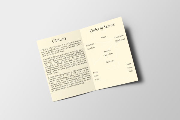 Professional Funeral Program Template Inside Panel