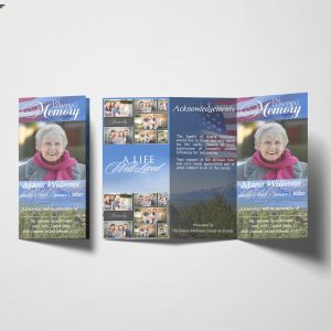 US Flag TriFold Funeral Program Template