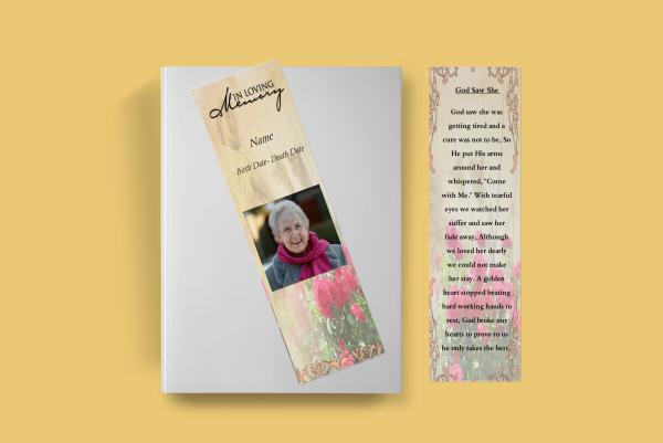 rose funeral bookmark template
