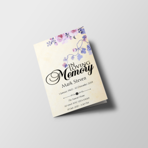 Floral No Photo Funeral Program Template