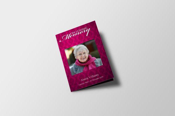women vintage funeral program template