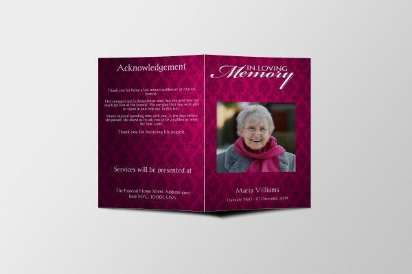 women vintage funeral program template cover