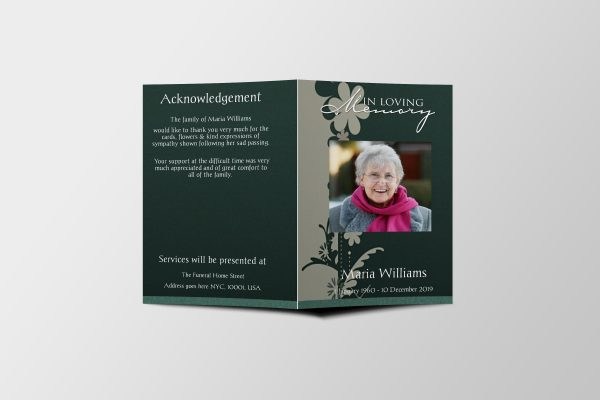 green floral abstract funeral program template cover