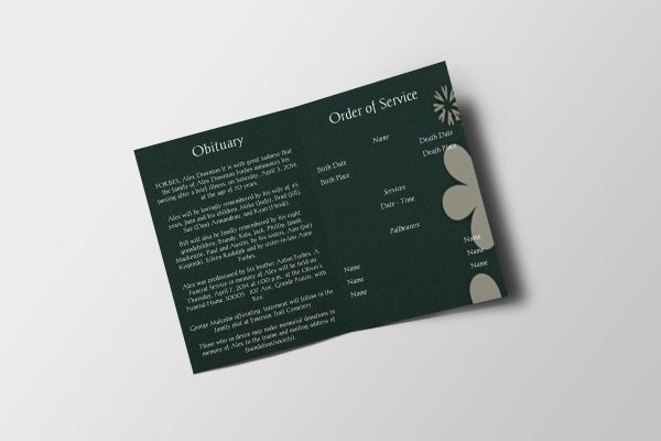 green floral abstract funeral program template inside