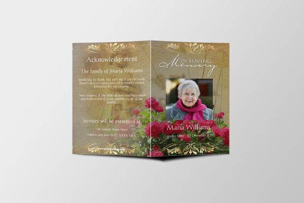 Roses Women Special Funeral Program Template cover