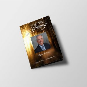 Forest Sunset Half Page Funeral Program Template