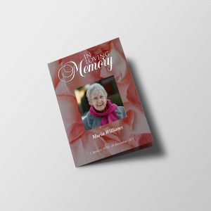 Pink Rose Petals Half Page Funeral Program Template