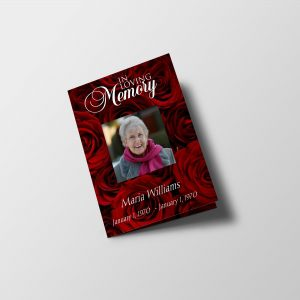 Red Rose Petals Half Page Funeral Program Template