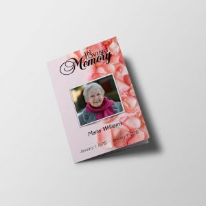 Pink Rose Petals Funeral Program Template