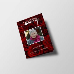 Red Rose Petals Funeral Program Template