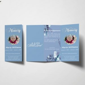 Simply Blue Trifold Funeral Program