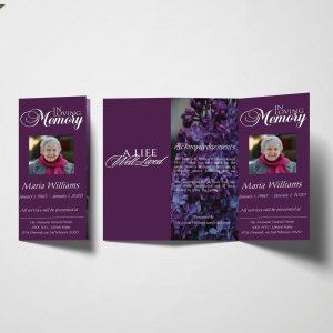 Royal Purple Trifold Funeral Program
