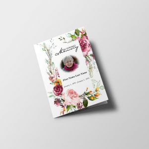 Simply Floral 6 Page Funeral Program Template