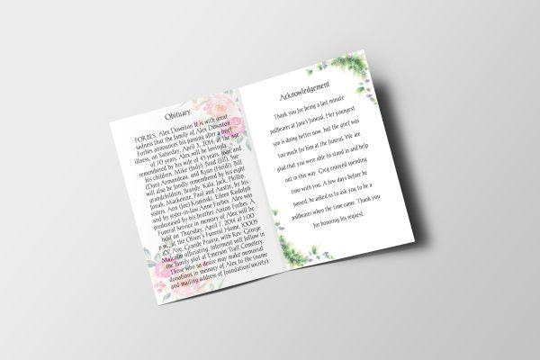 Simply Floral Half Letter Size Funeral Program inner
