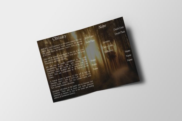 Forest Sunset Half Page Funeral Program Template inner page