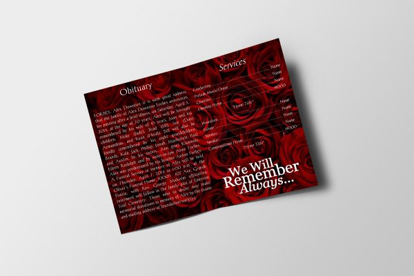 Red Rose Petals Funeral Program Template inner page