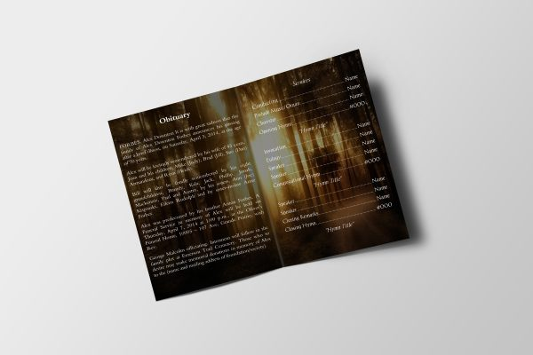 Forest Sunset Funeral Program Template inner page