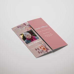 Pink Floral Gatefold Funeral Program