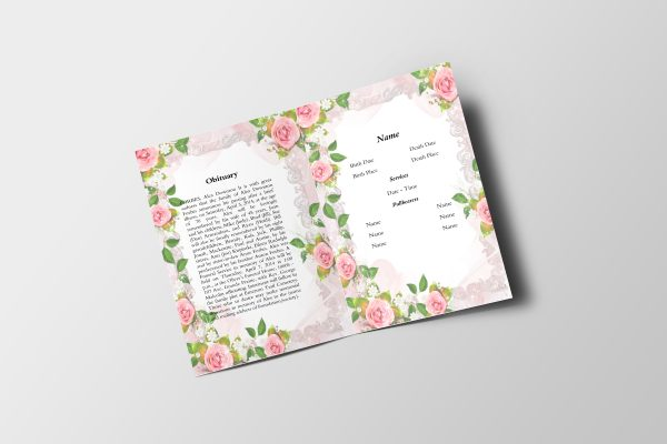 Simply Floral 6 Page Funeral Program Template inner 1