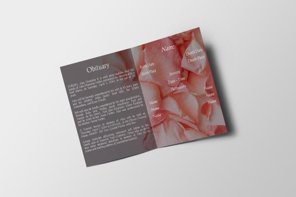 Pink Rose Petals Half Page Funeral Program Template inner page