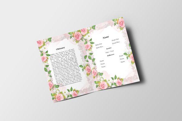 Floral Watercolor Funeral Program Template inner