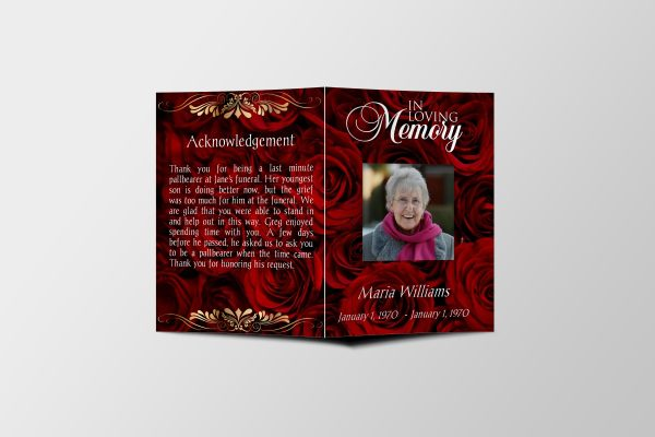 Red Rose Petals Half Page Funeral Program Template front cover