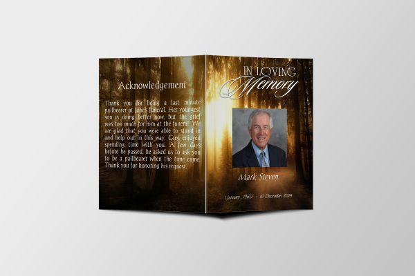 Forest Sunset Half Page Funeral Program Template front cover