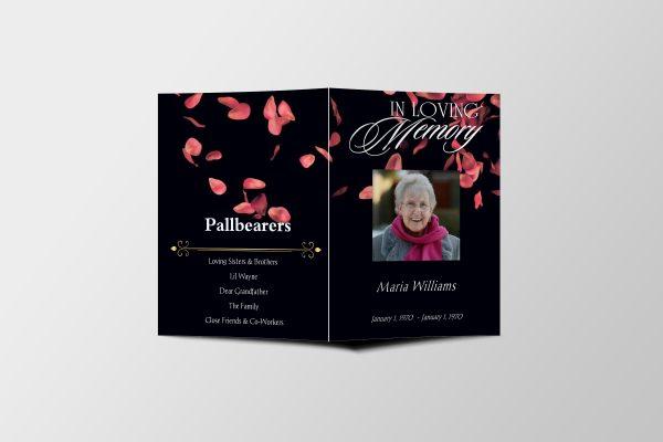 Premium Petals Half Page Funeral Program Template front cover