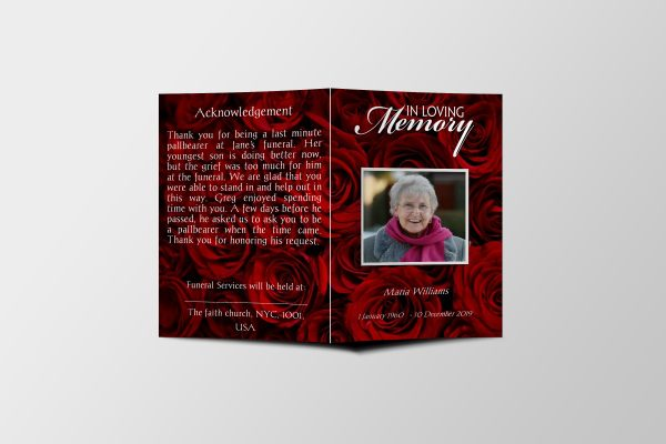 Red Rose Petals Funeral Program Template front page