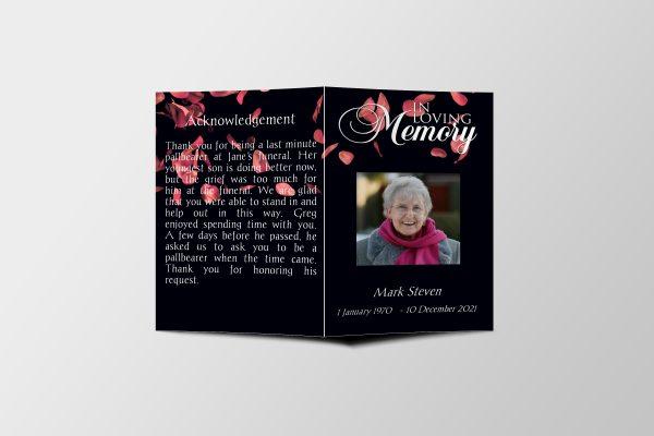 Premium Petals Funeral Program Template front cover