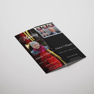 Red Vintage Gatefold Funeral Program