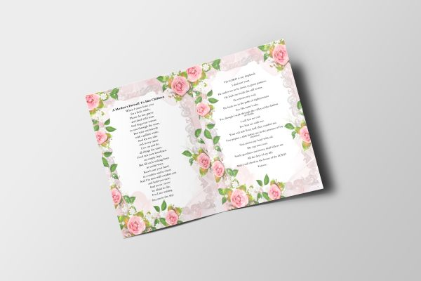Simply Floral 6 Page Funeral Program Template inner 2