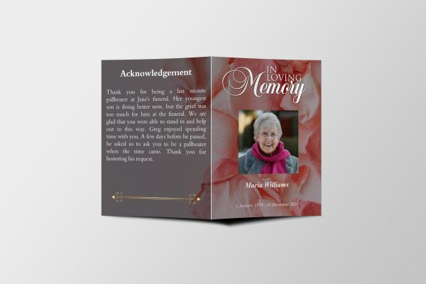 Pink Rose Petals Half Page Funeral Program Template front cover