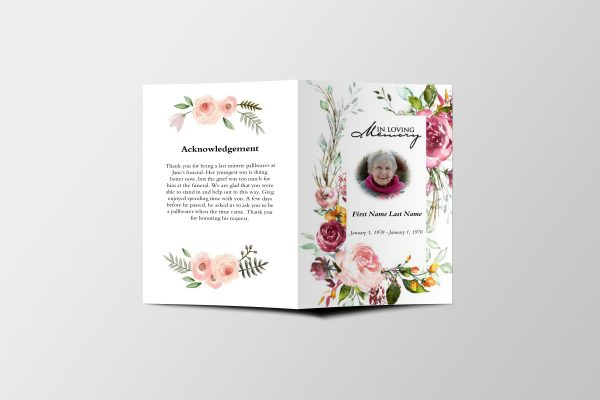 Simply Floral 6 Page Funeral Program Template front cover